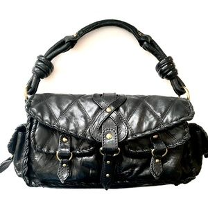Isabella Fiore Black Braided Leather Satchel